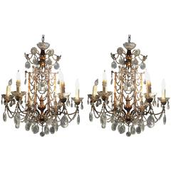 Pair of 1920s Crystal and Gilded Wood Italian Chandeliers