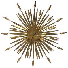 Classic Vintage Italian Gilt Metal Sheaf of Wheat Sunburst Wall Clock Sculpture