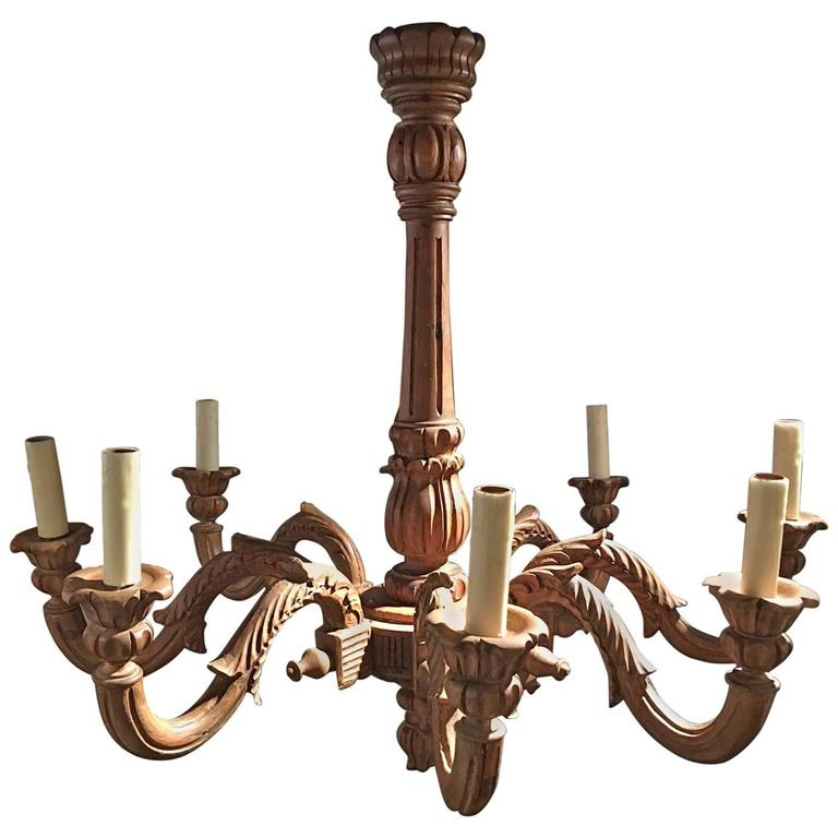 French Louis XVI Style Wood Chandelier, 19th Century