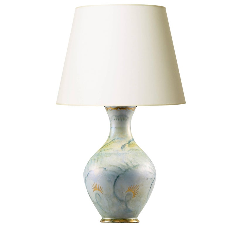 Romantic Hand-Painted and Gilded Table Lamp by Josef Ekberg for Gustavsberg For Sale