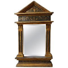 1950s Small Pedimented Hand-Painted Florentine Italian Mirror
