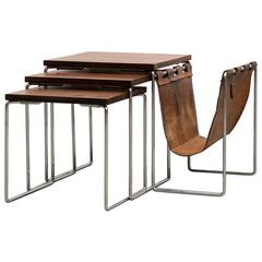 Rosewood Side Table with Leather Magazine Stand