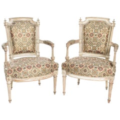 Pair of French Directoire Style Fauteuils, circa 1930s