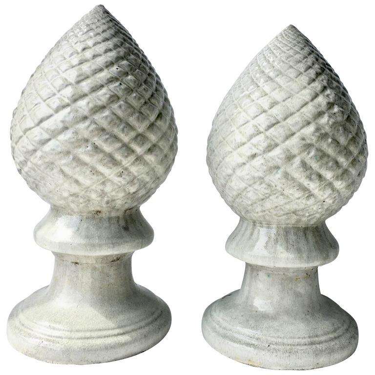 Contemporary Ceramic Glaze Cone Finial Sculptures