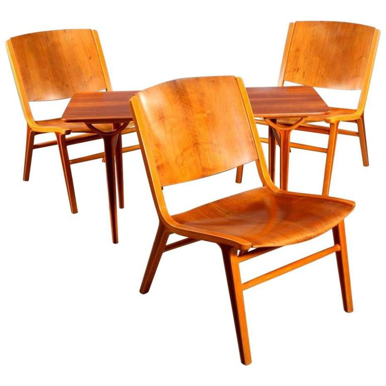 Three AX Chairs and Table  by Peter Hvidt and Orla Mølgaard Nielsen