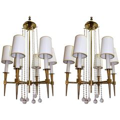 Pair of Tommi Parzinger Chandeliers with Six Lights