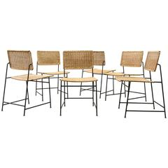 Set of Six Herta-Maria Witzemann Rattan and Wire Dining Chairs