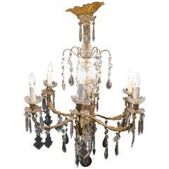 Stunning French Crystal Six-Branch Brass Chandelier