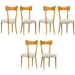 Italian Dining Chairs in the Style of Ico Parisi Set of Six