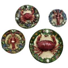 Set of 1940s Portuguese Majolica Ceramic Trompe L'oeil Seafood Platters