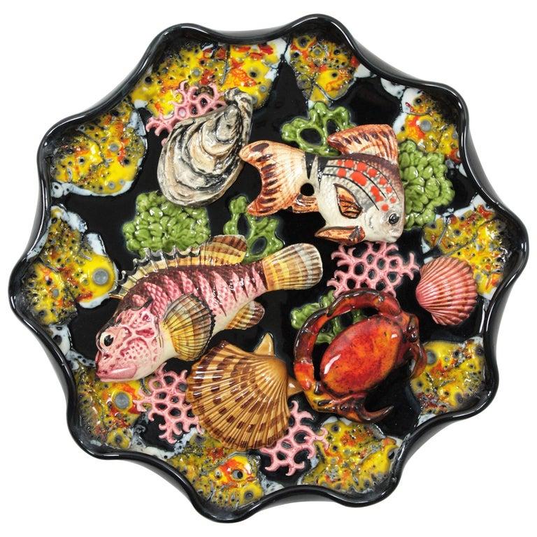 French, 1950s Vallauris Majolica Ceramic Trompe L'Oeil Seafood Platter