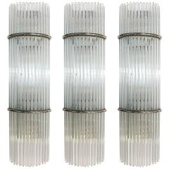Three Scolari Glass Rod Sconces