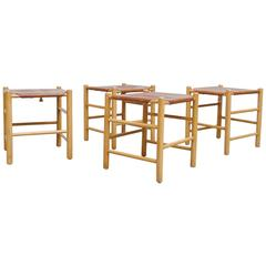Set of Four Perriand Style Leather Stools