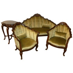 French Art Deco Settee, Chairs and Table in the Style of Paul Follot
