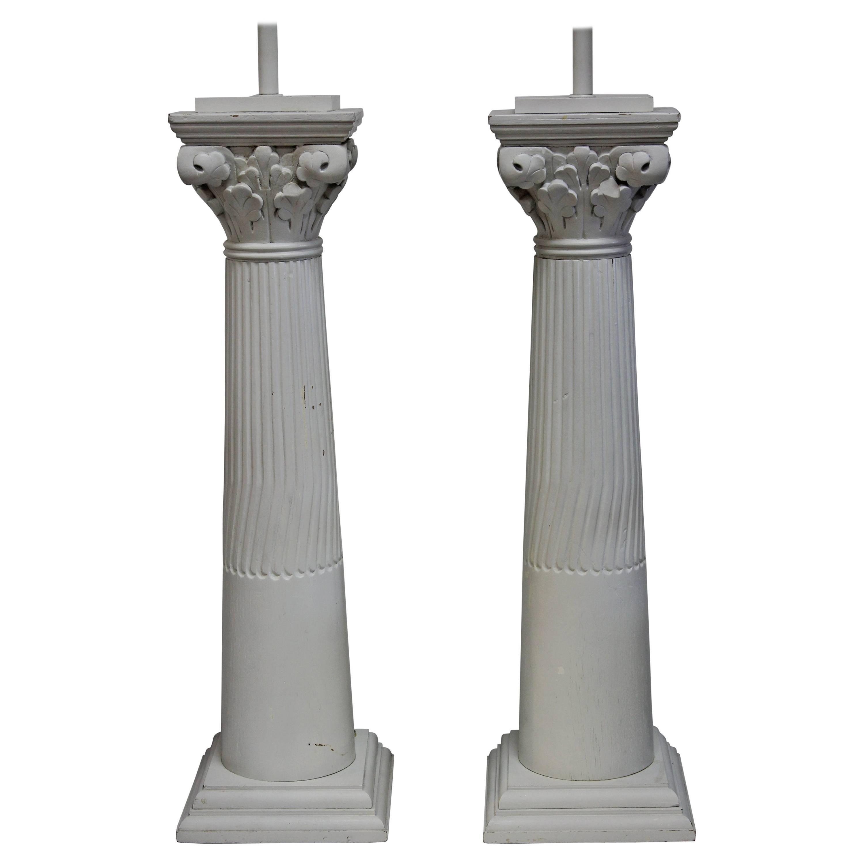 Pair of Wood Column Lamps