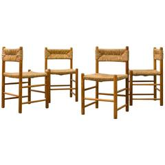 Set of Four Perriand Style Pine and Rush Chairs