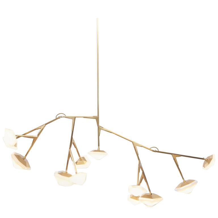 Myriad Long Modular Chandelier in Custom Finishes, Brass