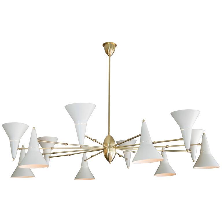 Stilnovo brass twelve arm chandelier with adjustable ivory cones for stilnovo brass twelve arm chandelier with adjustable ivory cones for sale aloadofball Image collections