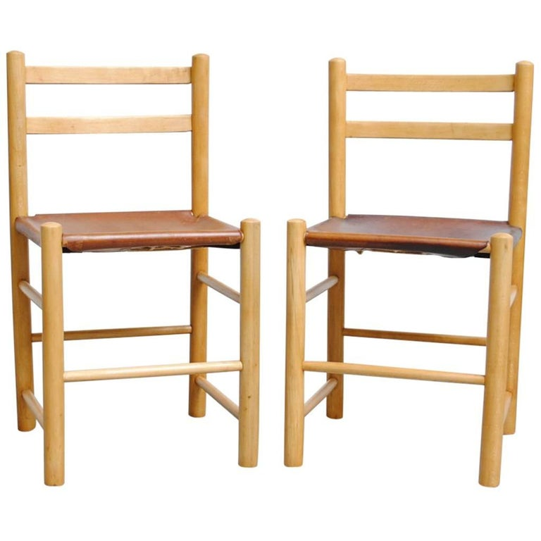 Pair of Charlotte Perriand Style Birch and Leather Side Chairs