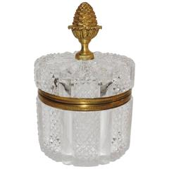 Wonderful French Faceted Crystal Bronze Ormolu Mounted Round Casket Jewelry Box