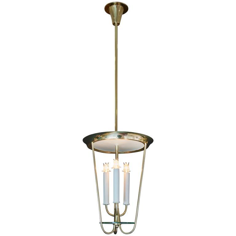 1950s Fontana Arte Style Lantern Pendant in Brass and Glass