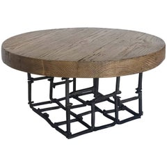 Dos Gallos Round Reclaimed Wood and Iron Spike Cocktail Table