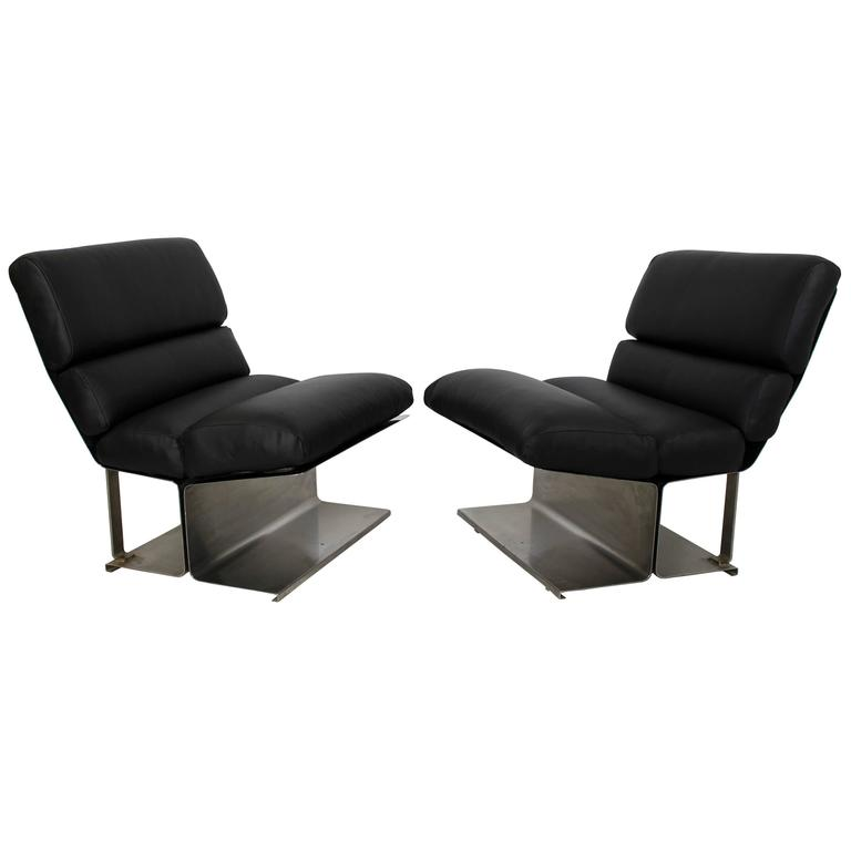 Mid-Century Modern Pair of Steel Leather Lounge Chairs Paul Geoffroy Uginox For Sale