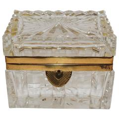 Stunning Pair French Etched Cut Crystal Ormolu-Mounted Deco Casket Jewelry Box