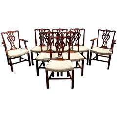 Set of Eight Mahogany Foliate Carved Chippendale Style Dining Chairs