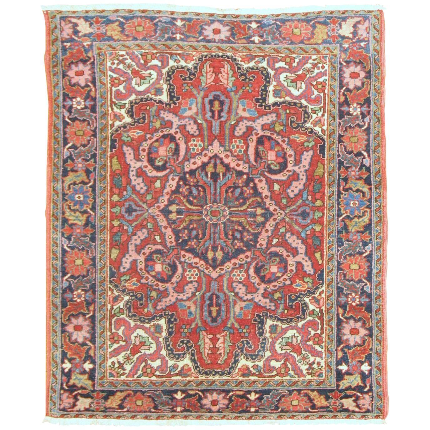 Traditional Vintage Persian Heriz Scatter Rug