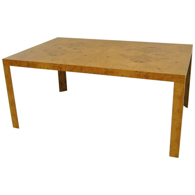 Burled Olive Wood Parsons Dining Table by Edward Wormley for Dunbar