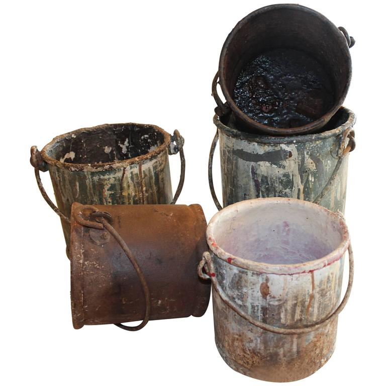 Vintage metal paint buckets for sale at 1stdibs for Old metal buckets