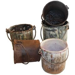 Vintage Metal Paint Buckets