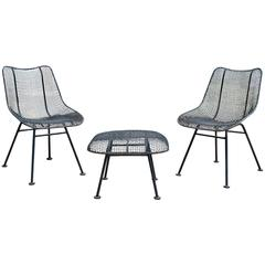 Mid-Century Modern Russell Woodard Sculptura Patio Set Pair Chairs and Ottoman