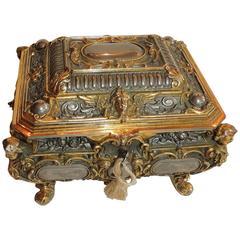 Ornate Vermeil Gilt Silvered Bronze Cherub Footed Casket Jewelry Box Velvet