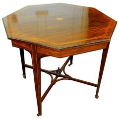 English 19th Century Jas. Shoolbred Inlaid Rosewood Octagonal Occasional Table