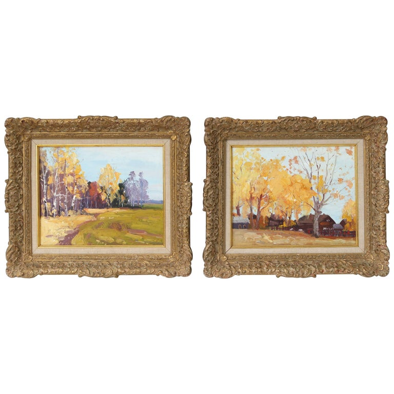 Set of Two Acrylic on Board Landscape Paintings For Sale