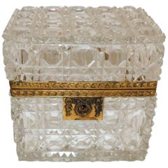 Wonderful French Faceted Cut Crystal Bronze Ormolu-Mounted Casket Jewelry Box