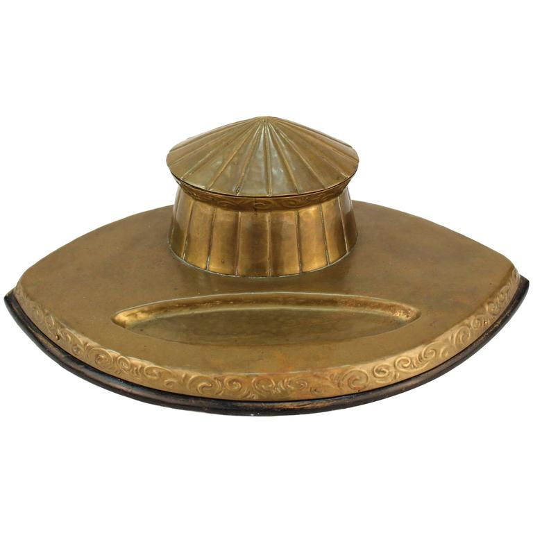 Arts & Crafts Movement Brass Inkwell For Sale