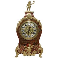 French 19th Century Louis XV Style Boulle Mantel Clock