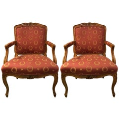 Pair of Open Armchairs Louis XV Style Feuteuils
