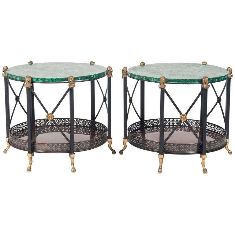 Pair of Maison Jansen Style Bronze and Iron Tables with Malachite Tops