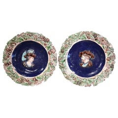 Pair of 19th Century French Ceramic Barbotine Chargers with King Francois I