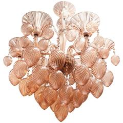 Pink Murano Glass Chandelier with Six Lights