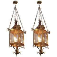 Pair of American Brass and Wrought Iron Hanging Gasolier Lanterns, Circa 1840
