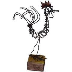 Whimsical Wire Rooster Sculpture by Rosenthal Netter