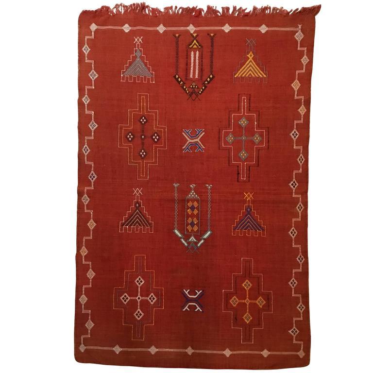 Moroccan Cactus Silk Flat-Weave Kilim Rug
