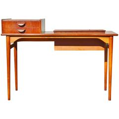 Danish Teak and Oak Sofa or Hall Table with Lift Top Storage or Planter