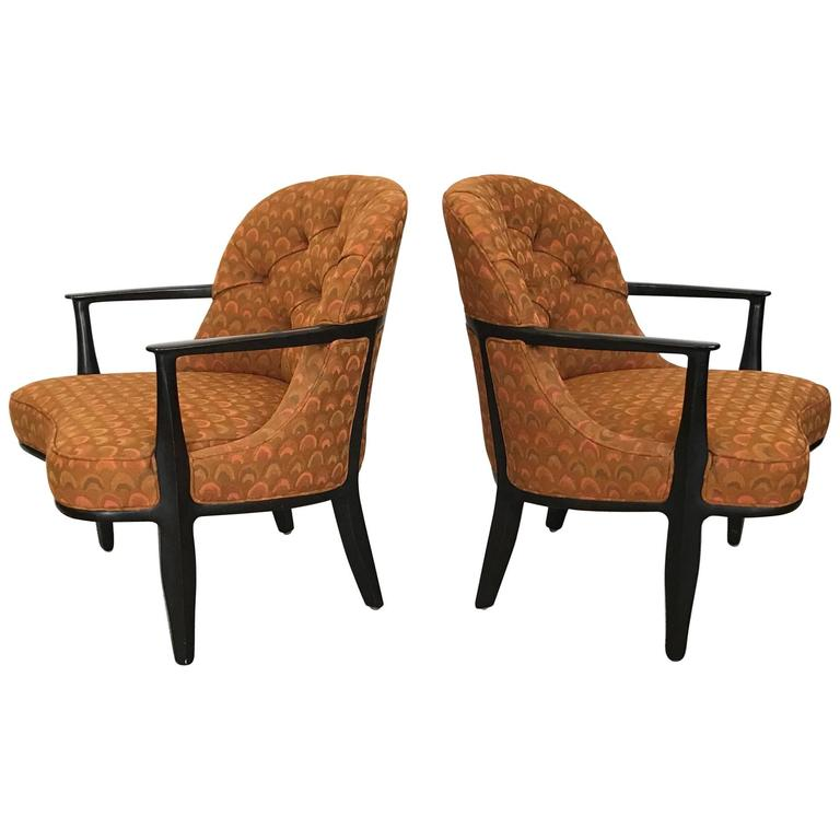 Pair of Classic Dunbar Janus Armchairs in Larsen Fabric
