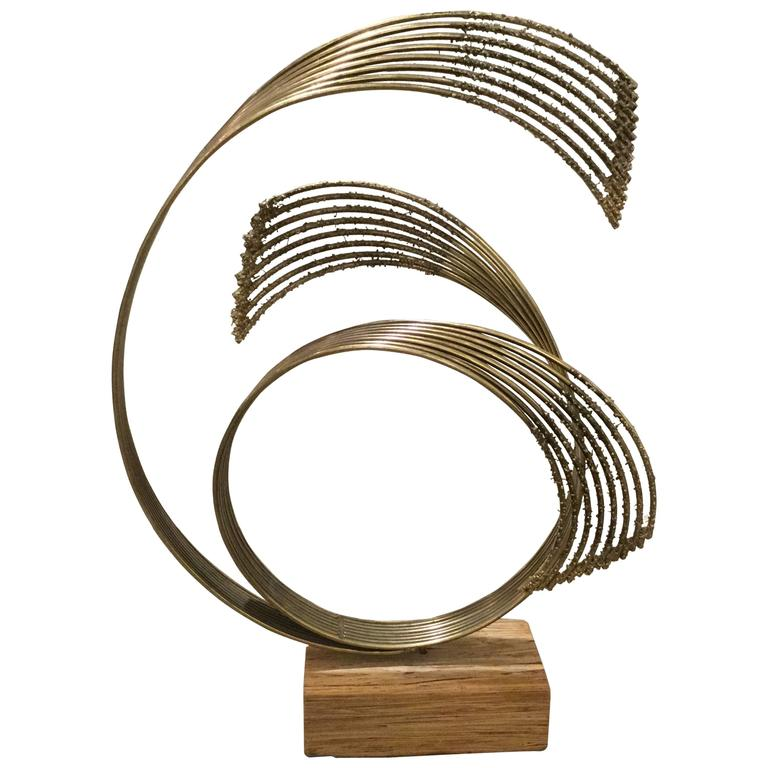 Curtis Jere Brass Sculpture on Unusual Wooden Base